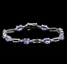 5.87 ctw Tanzanite and Diamond Bracelet - 14KT White Gold