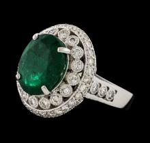 5.16 ctw Emerald and Diamond Ring - 14KT White Gold