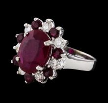 6.73 ctw Ruby and Diamond Ring - 14KT White Gold