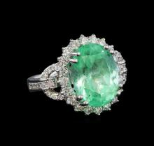 GIA Cert 9.80 ctw Emerald and Diamond Ring - 14KT White Gold