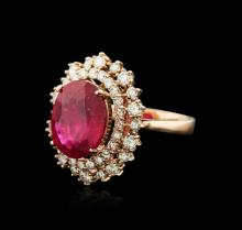 14KT Rose Gold 6.64 ctw Ruby and Diamond Ring