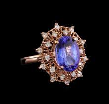 5.20 ctw Tanzanite and Diamond Ring - 14KT Rose Gold
