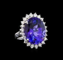 GIA Cert 11.40 ctw Tanzanite and Diamond Ring - 14KT White Gold