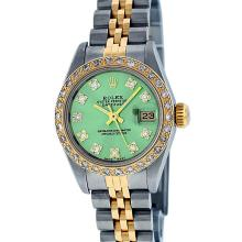 Rolex Ladies Two Tone Green VS Diamond Datejust Wristwatch