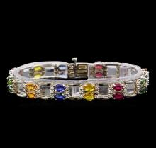 14KT White Gold 20.04 ctw Multi Gemstone and Diamond Bracelet
