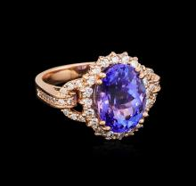 7.10 ctw Tanzanite and Diamond Ring - 14KT Rose Gold
