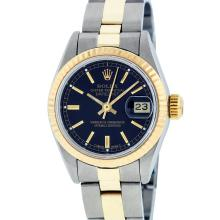 Rolex Two-Tone Black Index Yellow Gold Fluted Oyster Band DateJust Ladies Watch