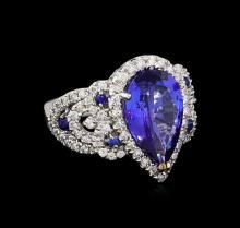 5.58 ctw Multi Gemstone and Diamond Ring - 14KT White Gold