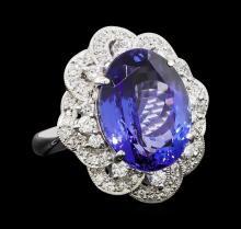 11.95 ctw Tanzanite and Diamond Ring - Platinum