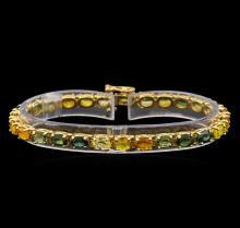 14KT Yellow Gold 16.20 ctw Multicolor Sapphire Bracelet