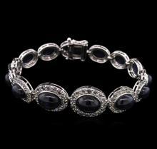 35.86 ctw Sapphire and Diamond Bracelet - 14KT White Gold