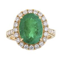4.18 ctw Emerald and Diamond Ring - 18KT Yellow Gold