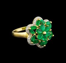 2.02 ctw Emerald and Diamond Ring - 10KT Yellow Gold