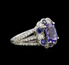 2.08 ctw Tanzanite, Blue Sapphire and Diamond Ring - 14KT White Gold