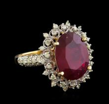 6.73 ctw Ruby and Diamond Ring - 14KT Yellow Gold