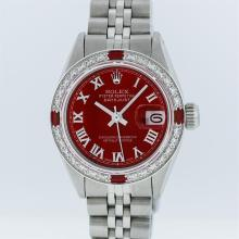 Rolex Stainless Steel Red Roman Diamond and Ruby DateJust Ladies Watch