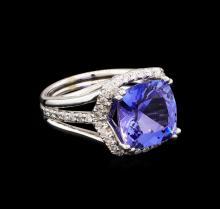6.11 ctw Tanzanite and Diamond Ring - 14KT White Gold