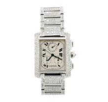 Cartier 18KT White Gold 8.26 ctw Diamond Tank Francaise Men's Watch
