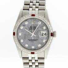 Rolex Stainless Steel Meteorite Diamond Ruby DateJust Men's Watch