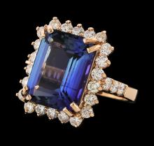 10.28 ctw Tanzanite and Diamond Ring - 14KT Rose Gold