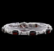 Crayola 27.00 ctw Garnet and White Sapphire Bracelet - .925 Silver