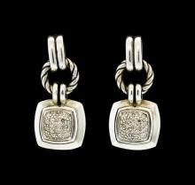David Yurman Dangling Diamond Earrings - Sterling Silver