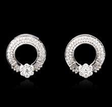 18KT White Gold 1.58 ctw Diamond Earrings