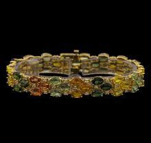 14KT Yellow Gold 28.17 ctw Multicolor Sapphire and Diamond Bracelet