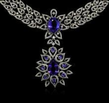 GIA Cert 22.54 ctw Tanzanite and Diamond Suite - 18KT White Gold