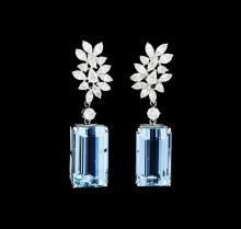 28.27 ctw Aquamarine And Diamond Earrings - 18KT White Gold
