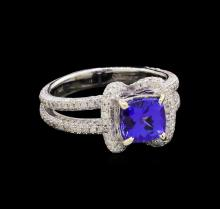 14KT White Gold 1.42 ctw Tanzanite and Diamond Ring