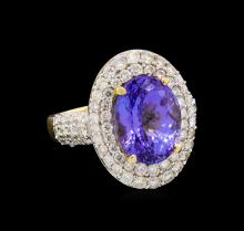 14KT Two-Tone Gold 5.40 ctw Tanzanite and Diamond Ring
