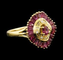 1.80 ctw Ruby and Diamond Ring - 18KT Yellow Gold