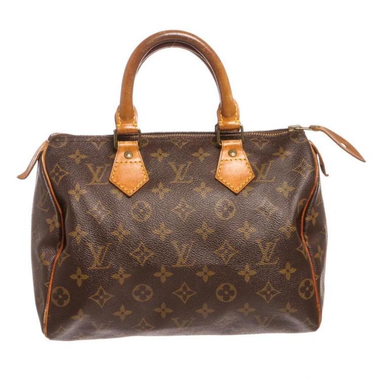 Louis Vuitton Monogram Canvas Leather Speedy 25 cm Bag