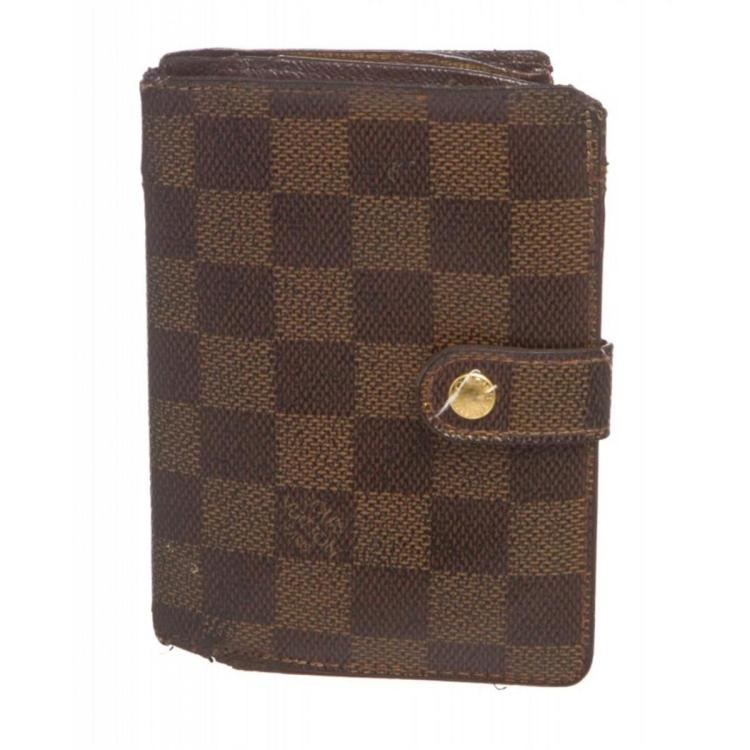 Louis Vuitton Damier Ebene Canvas Leather French Wallet