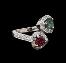1.24 ctw Pink Topaz and Diamond Ring - 14KT White Gold