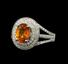 2.20 ctw Mandarin Spessartite and Diamond Ring - 14KT White Gold