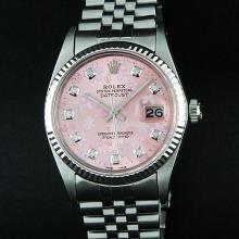 Rolex Stainless Steel Pink Floral Diamond DateJust Men's Watch