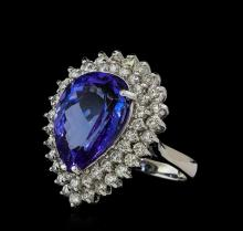 11.90 ctw Tanzanite and Diamond Ring - 14KT White Gold