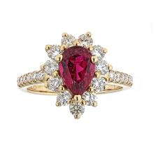 1.77 ctw Rubellite and Diamond Ring - 14KT Yellow Gold