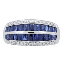 2.18 ctw Sapphire and Diamond Ring - 14KT White Gold