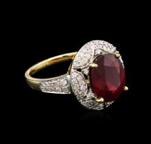 5.37 ctw Ruby and Diamond Ring - 14KT Yellow Gold