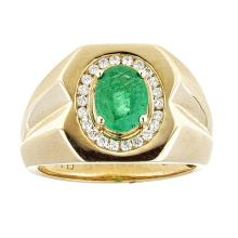 1.91 ctw Emerald and Diamond Ring - 14KT Yellow Gold
