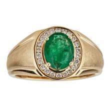 2.28 ctw Emerald and Diamond Ring - 14KT Yellow Gold