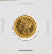 1881 AU $5 Liberty Head Half Eagle Gold Coin