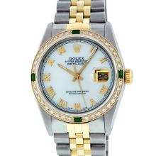 Rolex Two Tone Emerald and Diamond DateJust Men's Watch