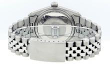Rolex Mens Stainless Steel Black Index DateJust Men's Datejust Wristwatch