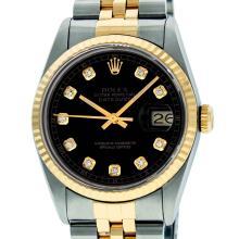 Rolex Mens 36mm Two Tone Yellow Gold Black DiamondDateJust Wristwatch