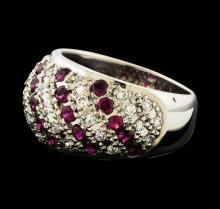 1.15 ctw Diamond and Ruby Ring - Platinum