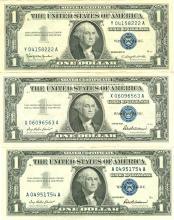 $1 XF/AV Silver Certificate Currency Lot of 3